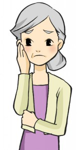 左脇腹の痛みのある女性